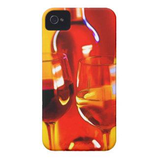 Botella abstracta de vino y de vidrios iPhone 4 cárcasa