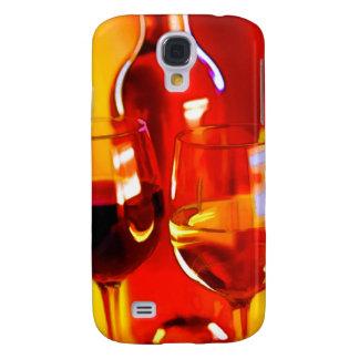 Botella abstracta de vino y de vidrios funda para galaxy s4