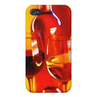 Botella abstracta de vino y de vidrios iPhone 4 fundas