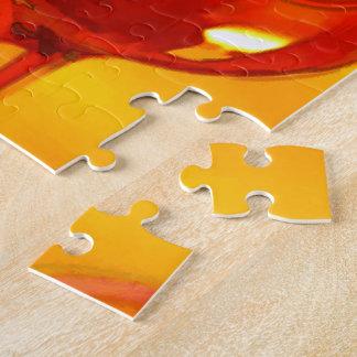 Botella abstracta de vino y de vidrios puzzle con fotos