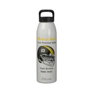 Botella amarilla de la libertad del casco de fútbo botella de agua reutilizable
