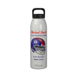 Botella azul de la libertad del casco de fútbol am botella de agua reutilizable