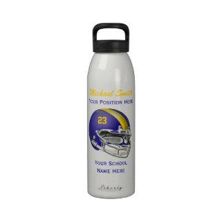 Botella azul de la libertad del casco de fútbol am botellas de agua reutilizables