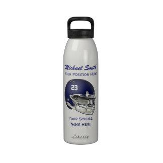 Botella azul de la libertad del casco de fútbol am botella de agua