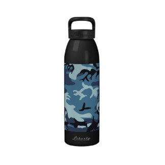 Botella azul del camuflaje botellas de agua reutilizables