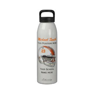 Botella blanca de la libertad del casco de fútbol  botella de agua