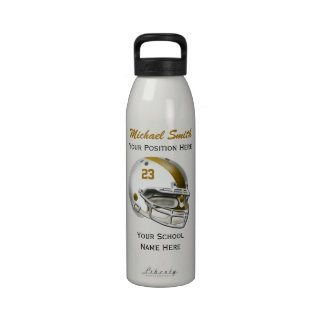 Botella blanca de la libertad del casco de fútbol  botella de agua reutilizable