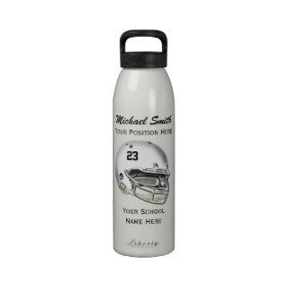 Botella blanca de la libertad del casco de fútbol  botellas de agua reutilizables