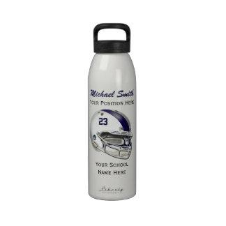 Botella blanca de la libertad del casco de fútbol  botallas de agua