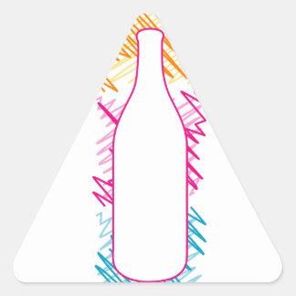 Botella con bosquejos coloridos pegatina triangular