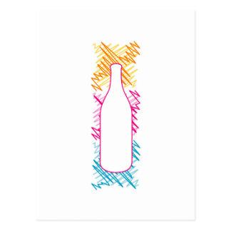Botella con bosquejos coloridos postal
