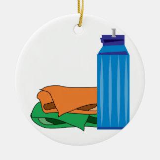 Botella de agua adorno navideño redondo de cerámica
