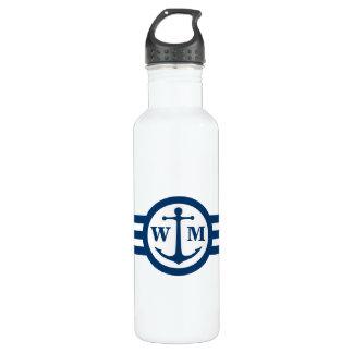 Botella de agua azul del monograma del ancla