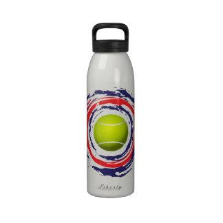 Botella de agua azul del tenis y blanca roja
