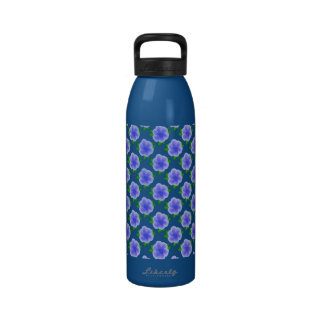 Botella de agua azul estilizada de la flor