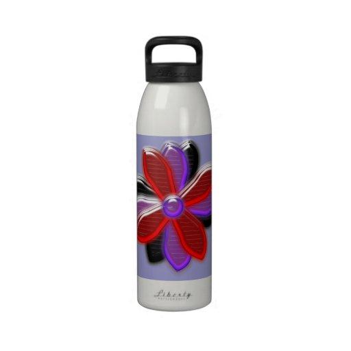 Botella de agua brillante de la flor de la margari