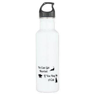 Botella de agua casada divertida del gato