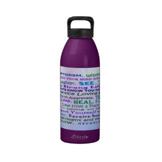 botella de agua curativa del collage de las palabr