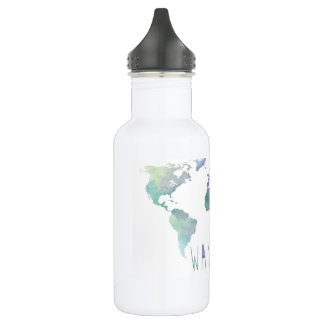 Botella de agua de la acuarela del Wanderlust