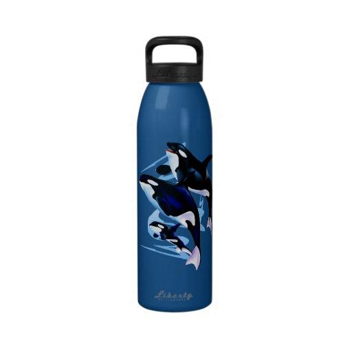 Botella de agua de la familia de la orca
