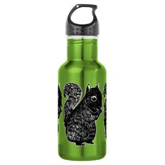 Botella de agua de las ardillas negras