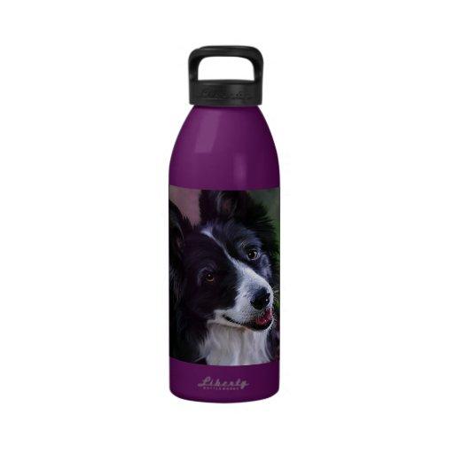 Botella de agua del border collie