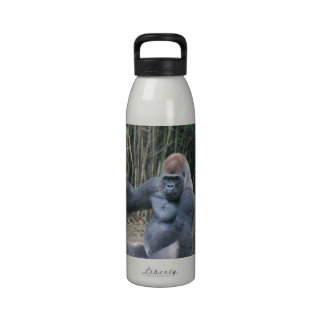 Botella de agua del gorila del Silverback que se s