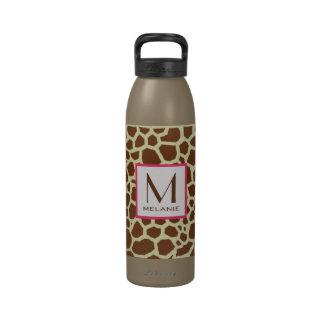 Botella de agua del monograma del estampado de gir