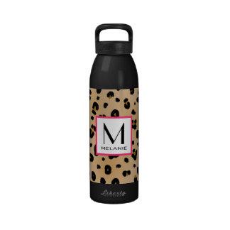 Botella de agua del monograma del estampado leopar