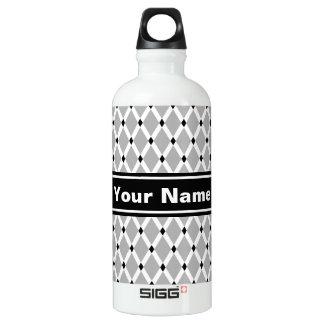 Botella de agua Diamante-Blanca gris de los marcos