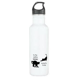 Botella de agua divertida de la casa del gato