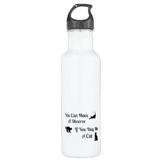 Botella de agua divertida del divorcio del gato