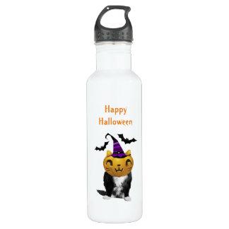 Botella de agua divertida del gato de Halloween