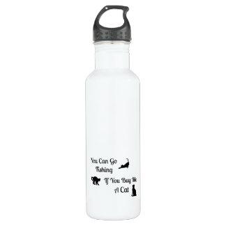 Botella de agua divertida del gato de la pesca