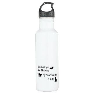 Botella de agua divertida del gato del día de