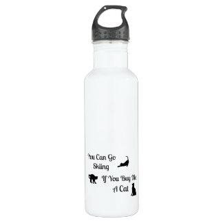 Botella de agua divertida del gato del esquí