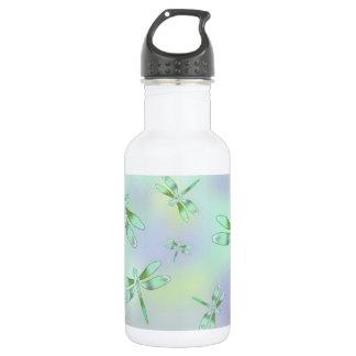 Botella de agua en colores pastel de la libélula