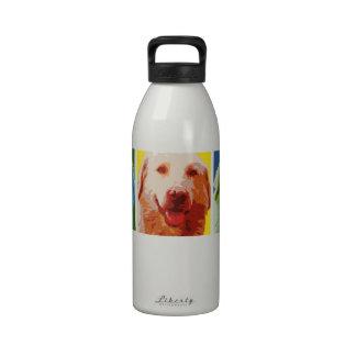 Botella de agua feliz del perro del arte pop