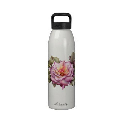 Botella de agua floral