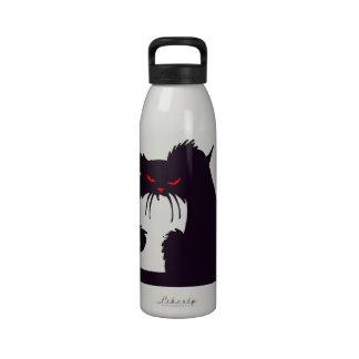 Botella de agua gruñona del gato negro