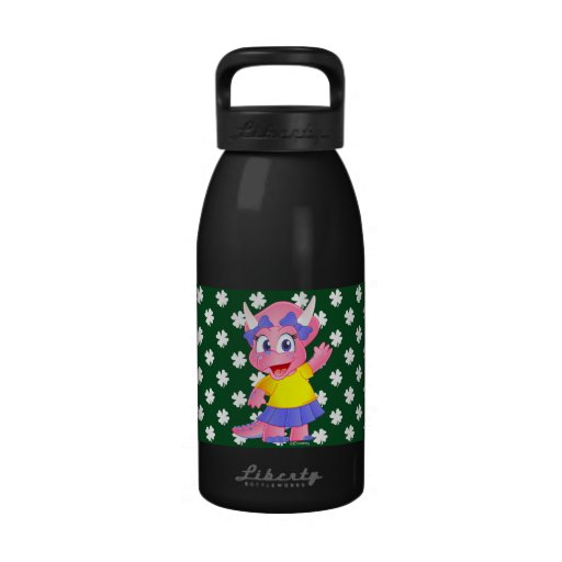Botella de agua linda de Dino de la sabana (trébol