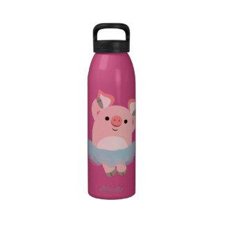 Botella de agua linda del cerdo de la bailarina de