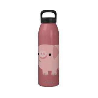 Botella de agua linda del cerdo del dibujo animado