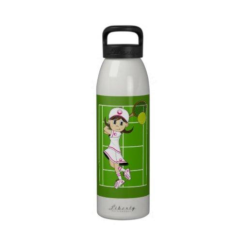 Botella de agua linda del chica del tenis