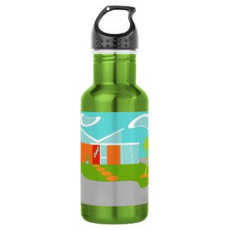 Botella de agua moderna de la casa del dibujo