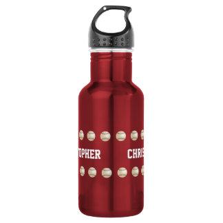 Botella de agua, personalizada, béisbol, rojo
