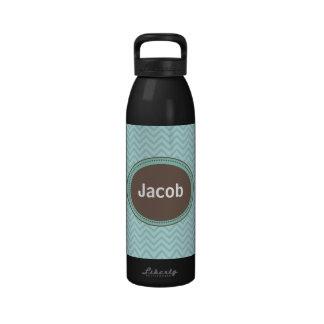 Botella de agua personalizada Chevron azul para lo