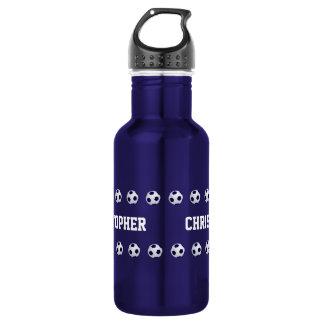 Botella de agua, personalizada, fútbol, azul