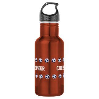 Botella de agua, personalizada, fútbol, naranja