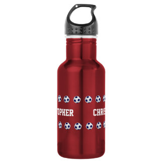 Botella de agua, personalizada, fútbol, rojo